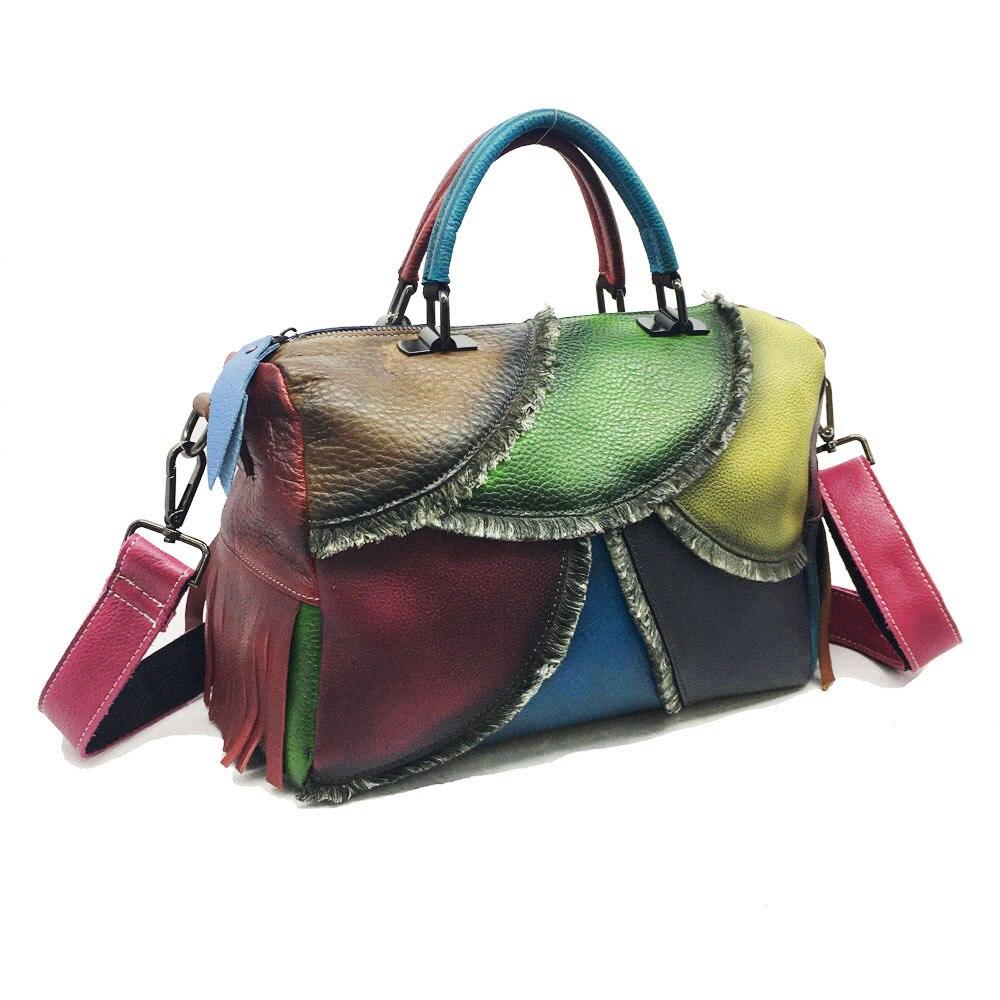 أحدث نسخة خمر حقيبة كتف نسائية محمولة قطري حقيبة رسمت باليد يتلاشى اللون Totebag حقيبة ساعي حقائب اليد
