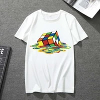 ladies rubiks cube graphic print plus size womens t shirt mens and womens short sleeve hoodless harajuku all match top