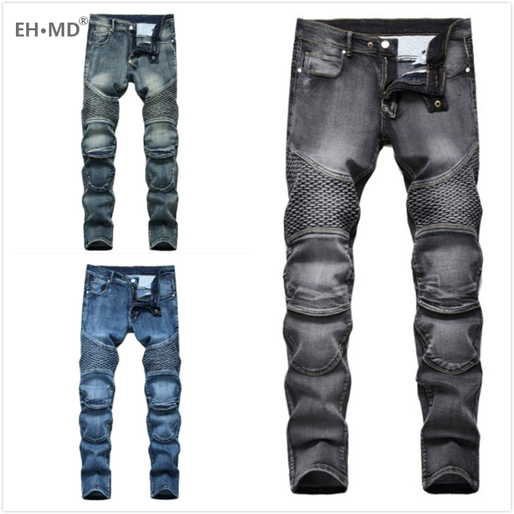 EH·MD® Motorcycle Patchwork Jeans Men's Fish Scales Decorated Washed Slim-fit Pleated High Elastic Solid Color Pants Fall Winter