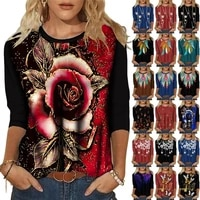 2021 europe and america womens t shirt with spot new imitation cotton fashion personality printed round neck long sleeve