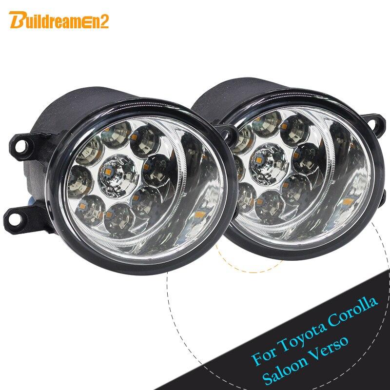 Buildreamen2 para Toyota Corolla Saloon Verso 2 x H8 H11 estilo de coche luz LED izquierda + luz antiniebla derecha luz diurna DRL
