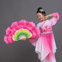 new 1pair spanish dancing peony handfan double sided large flower petals group belly dance performance prop stage fan