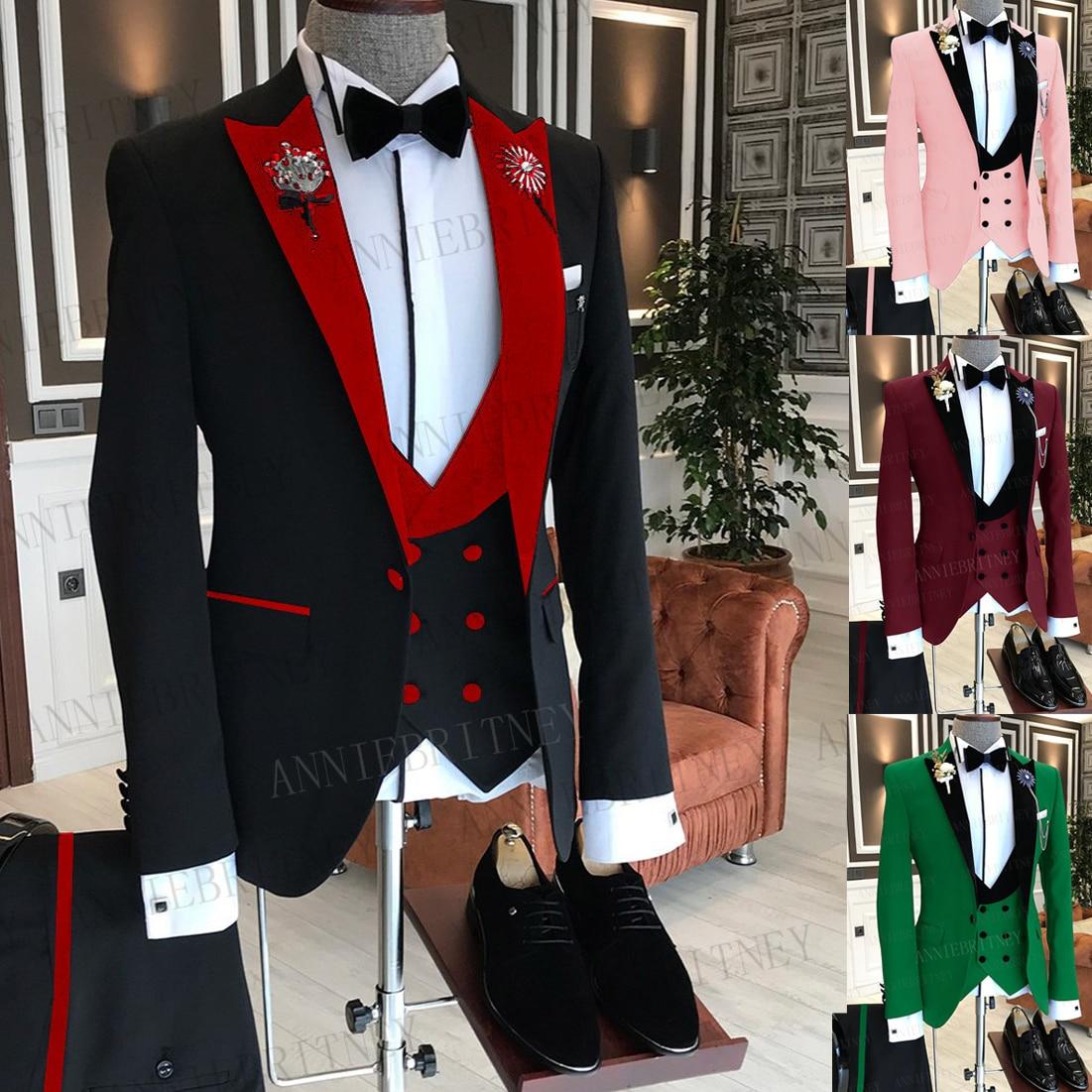 بدلة رجالية رسمية للعمل من 3 قطع جاكيت رجالي مخصص موضة زفاف بدلة سهرة حمراء مخملية طية صدر السترة سترة وسروال 2021