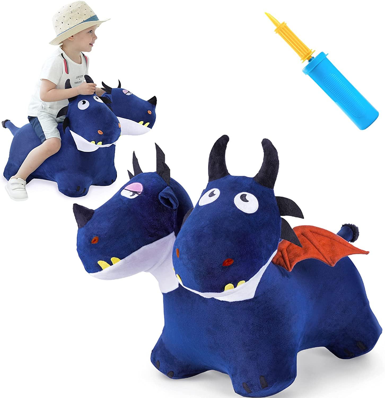طفل الحيوان واثب لعب الاطفال أفخم الأزرق القفزات الحصان نفخ ركوب على التنين هدية لمدة 18 شهر 2 3 4 سنة صبي فتاة