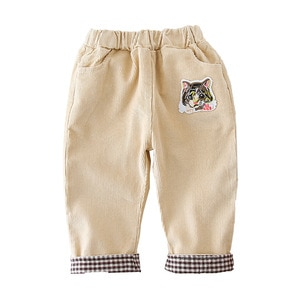 WLG Boys Girls Pants Toddler Pants Spring Autumn Corduroy Cat Patchwork Yellow Beige Trousers Baby Casual All Match Clothes
