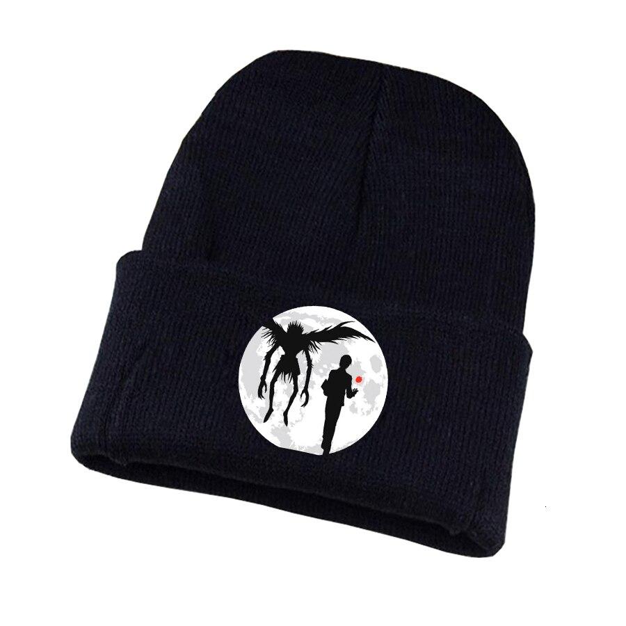 Anime death note chapéu de malha chapéu cosplay unisex impressão adulto casual algodão chapéu adolescentes inverno malha boné