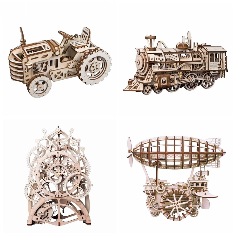 Robotime 4 Kinds DIY Laser Cutting 3D Mechanical Model Wooden Model Building Block Kits Assembly Toy Gift for Children