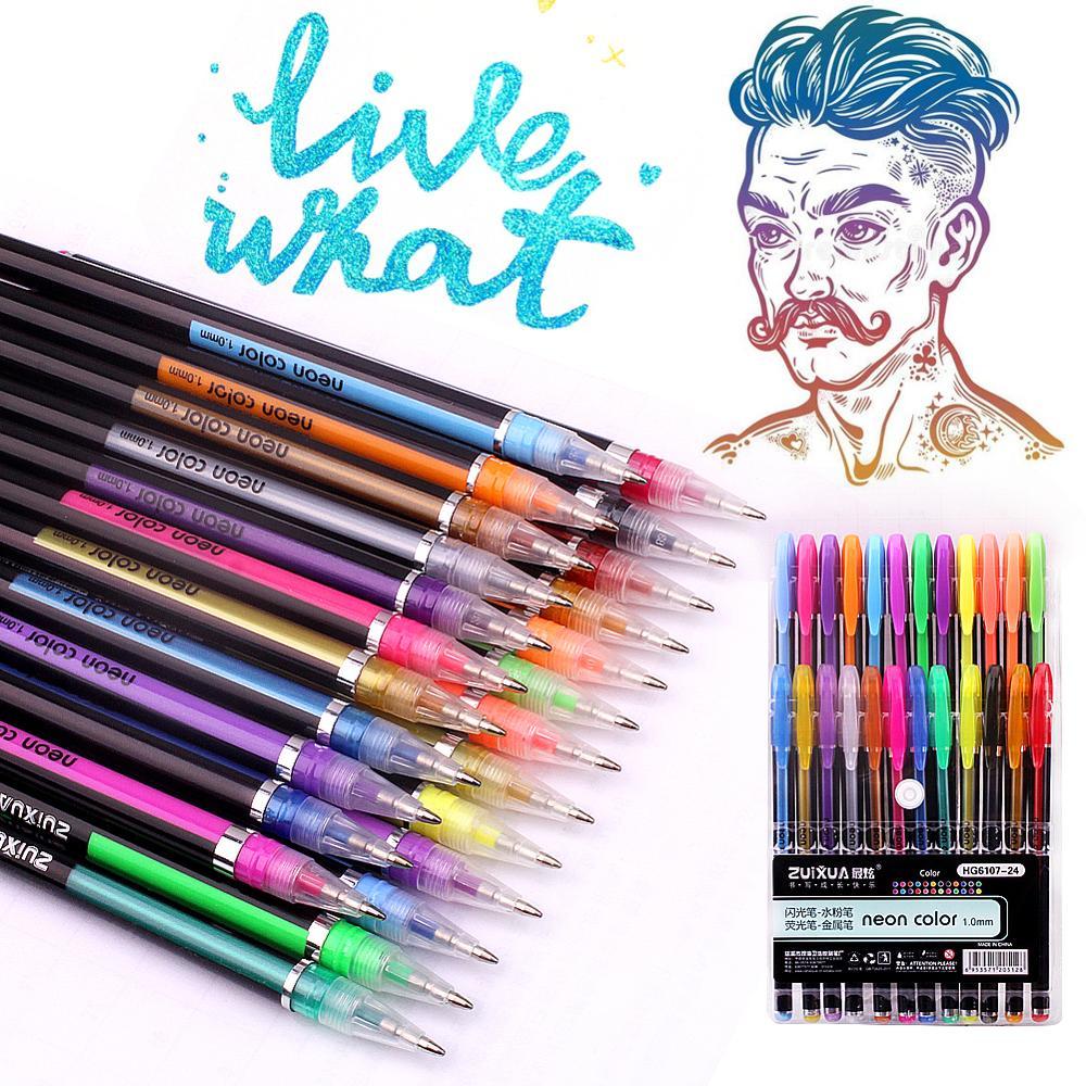 Schreibwaren Gel Stifte Set-Kinder Colouring Set - 24 Regenbogen Schreibwaren Zeichnung Kit