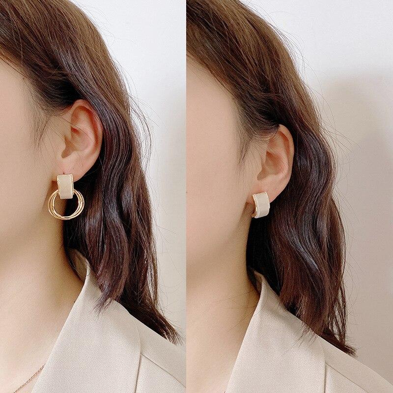 2020 blanco gota glaseado geométrico cuadrado redondo Irregular pendientes moda Lily pendientes esmaltados colgantes para las mujeres joyería