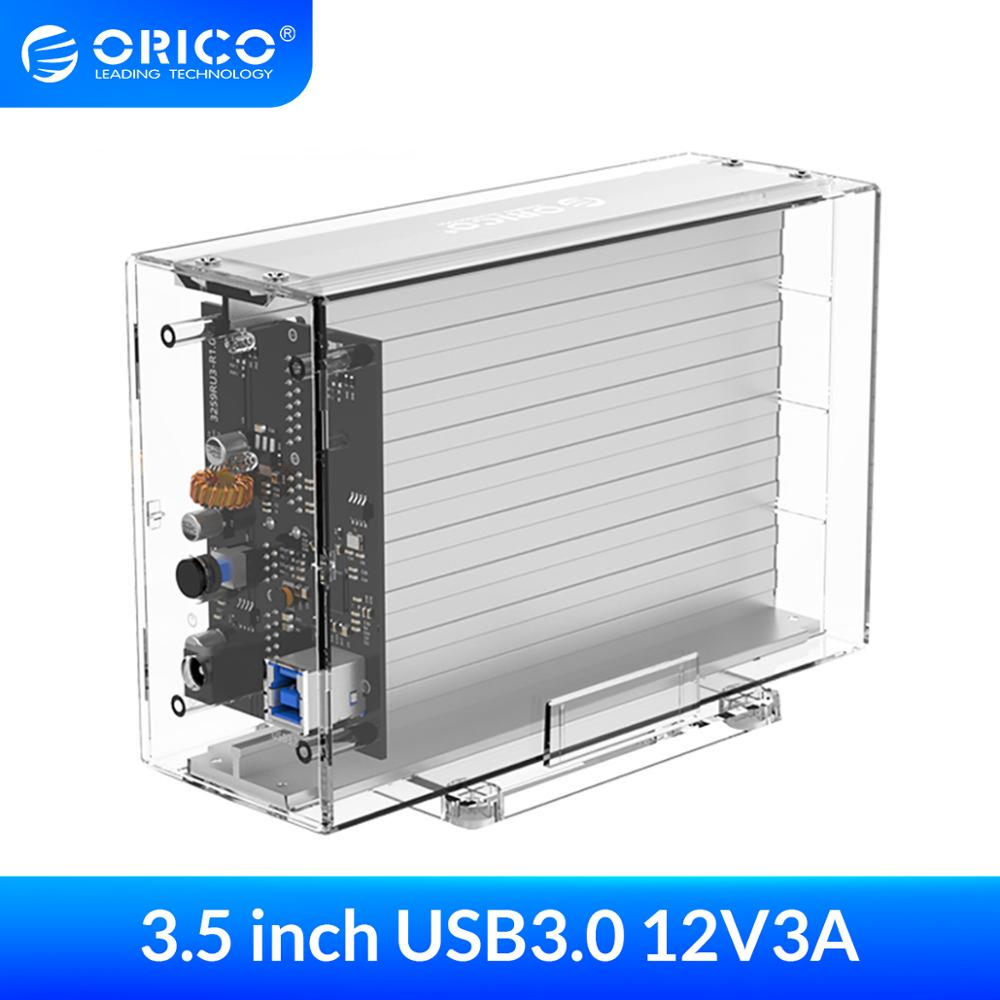 ORICO Transparent Dual 3.5'' USB3.0 HDD Case 6Gbps SATA to USB 3.0 HDD Dock Station UASP 24TB Tool Free Add 12V3A Power Adapter