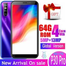 Smartphone P30 pro 4G LTE 6.0 pollici quad core 4GB RAM 64GB ROM 13MP 18:9 telefoni cellulari Android face ID sbloccato celulares wifi