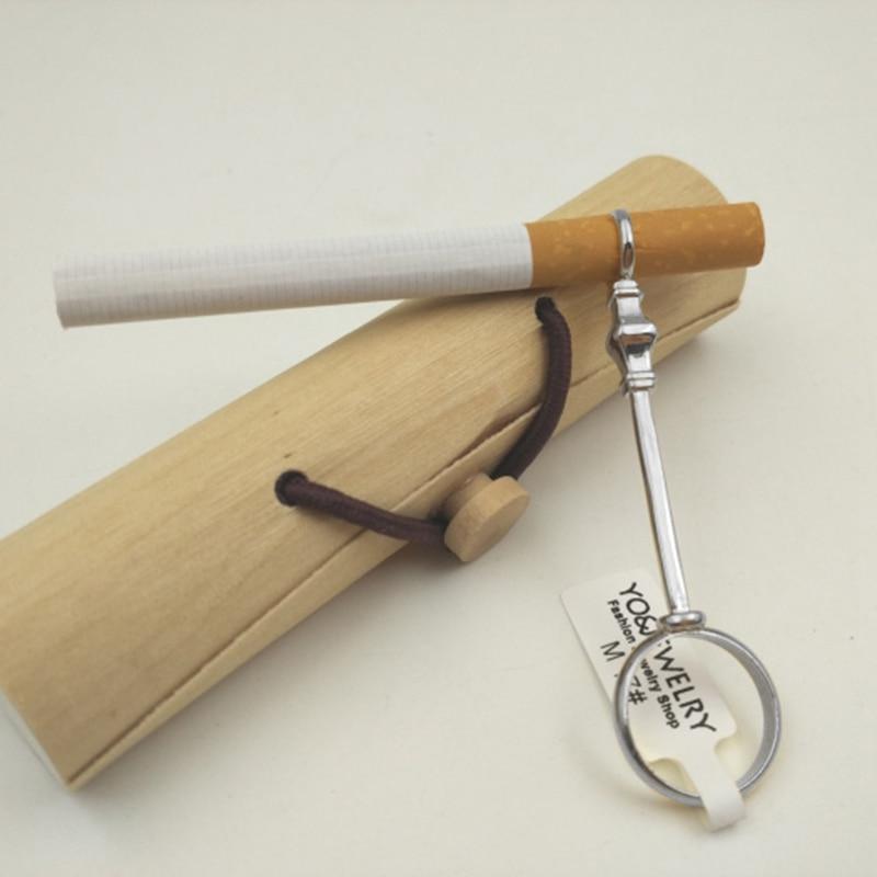 Nuevo-Soporte elegante Retro para pipa de fumar anillo jade estante de anillo para evitar que los dedos se amarilleen-plata