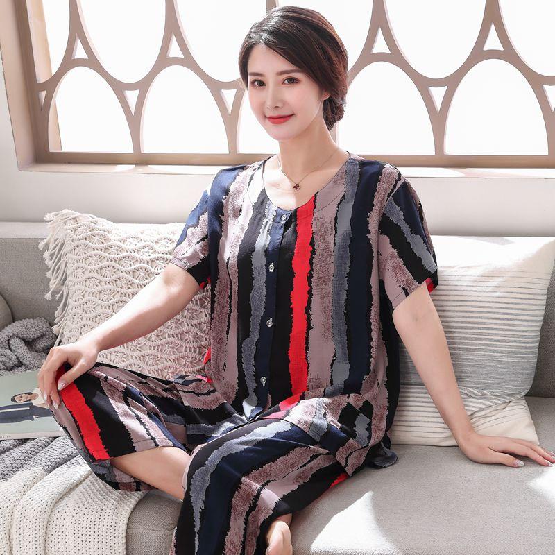 Женский хлопковый пижамный комплект, летняя тонкая свободная Пижама с цветочным принтом, 2 шт., повседневная домашняя одежда для женщин, пиж...