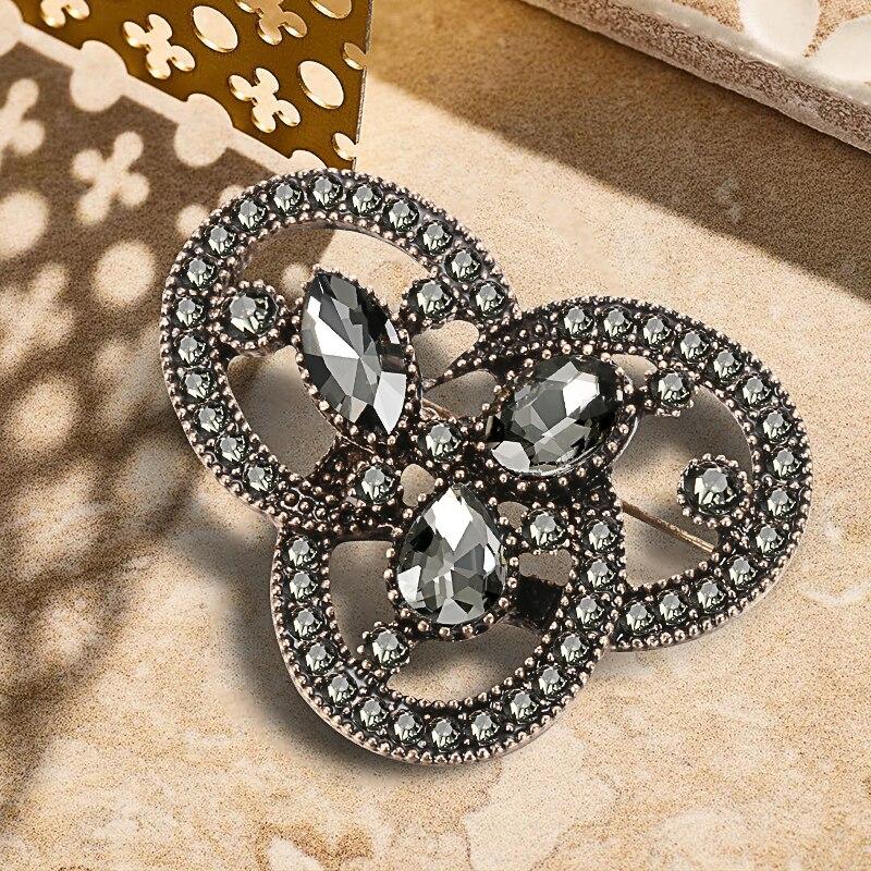Kinel 2020 moda mujer Vintage gris cristal broche con cierre de oro Chapado en árabe Diamante de imitación turco broche solapa bufanda Broches