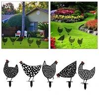 iron handecraft hen yard decor easter decoration gardening ornaments chicken art outdoor garden backyard lawn stakes yard sign