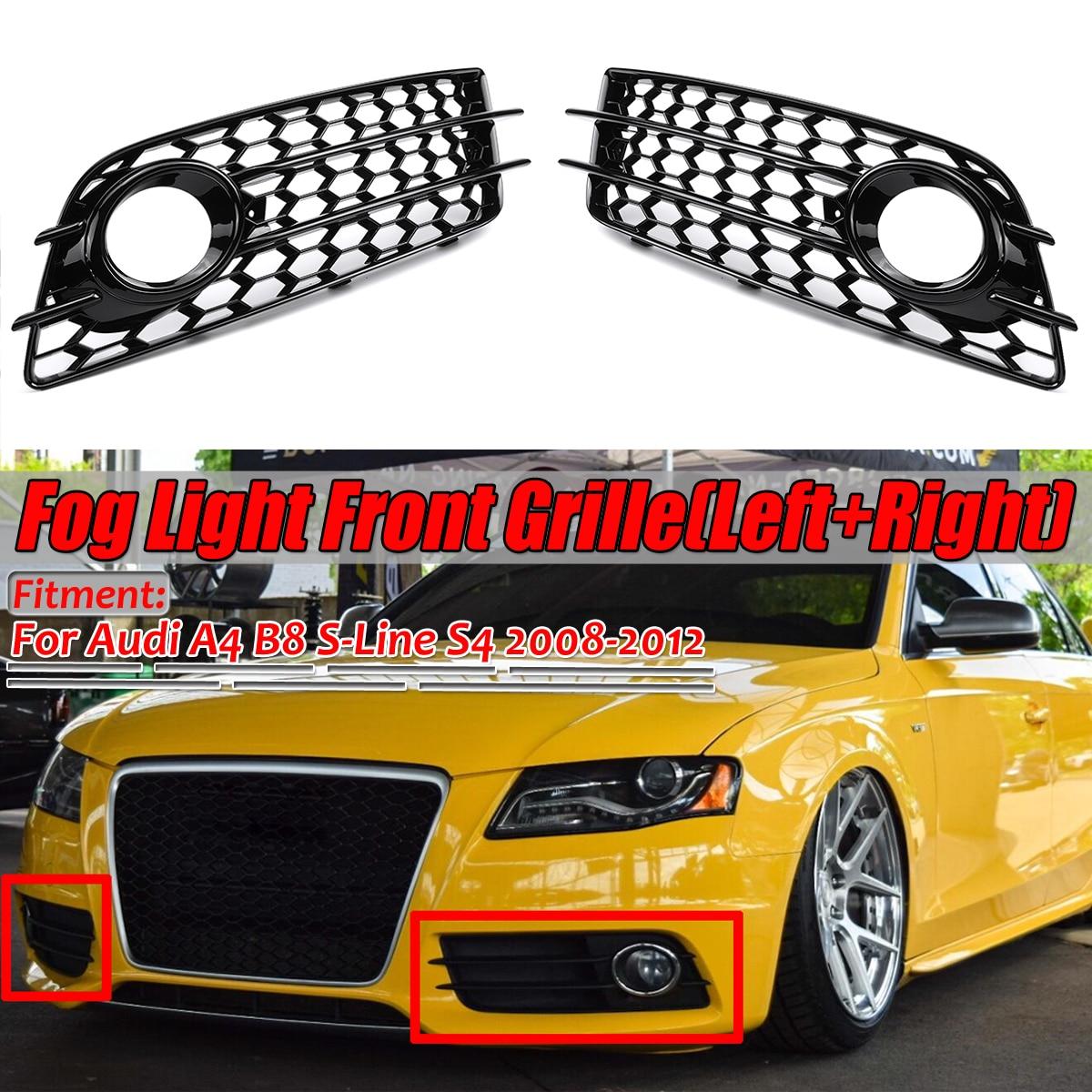 A4 B8 Черный Автомобильный противотуманный светильник решетка крышка лампы сотовая Шестигранная Передняя решетка гриль для Audi A4 B8 S-Line S4 2008 2009 2010 2011 2012