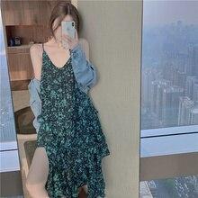 Design Sense V-neck Strap Irregular Long Dress Women's Niche Summer Vacation Vintage Floral Dress 20