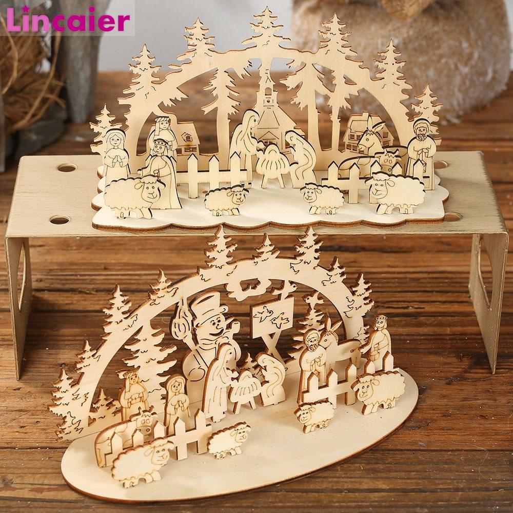 DIY Navidad juguete de madera niños regalo Navidad decoración para el hogar adornos 2019 Navidad 2020 Año Nuevo decoración de mesa para fiesta de Navidad