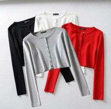 Femmes solide à manches longues haut court t-shirt t-shirt décontracté solide simple boutonnage tricoté pour les filles