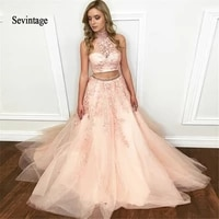 sevintage two pieces beaded halter long prom dresses appliques women wear formal party dress evening gowns vestidos gala