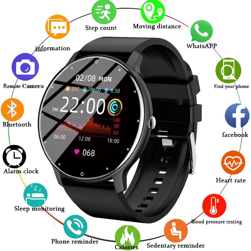 2021 New Smart Watch Men Women Full Touch Screen Sport Fitness Watch IP67 Waterproof Bluetooth For A
