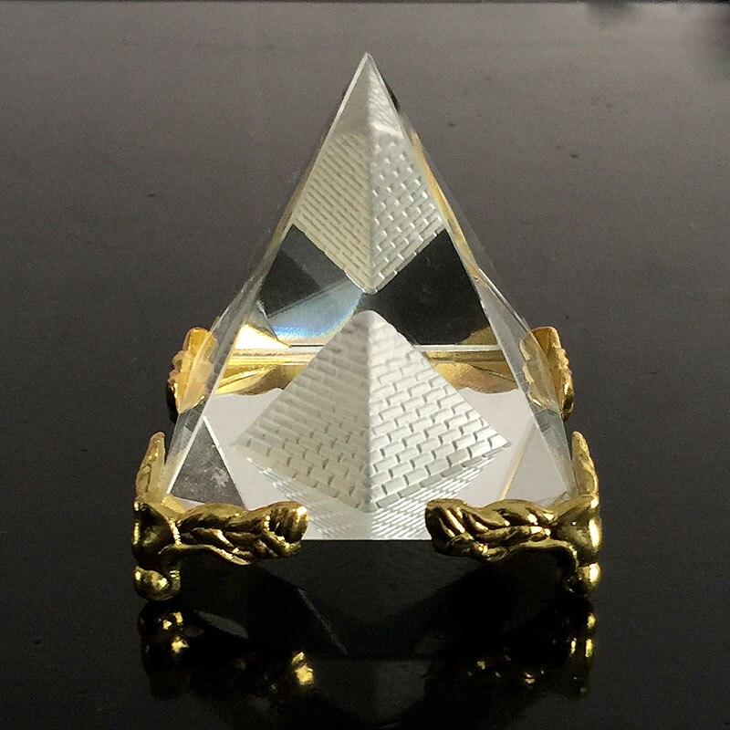 Cristal de cuarzo egipcio, pirámide hueca, pisapapeles Fengshui, figurita Wicca, artesanías para el hogar, boda, decoración de oficina, adornos