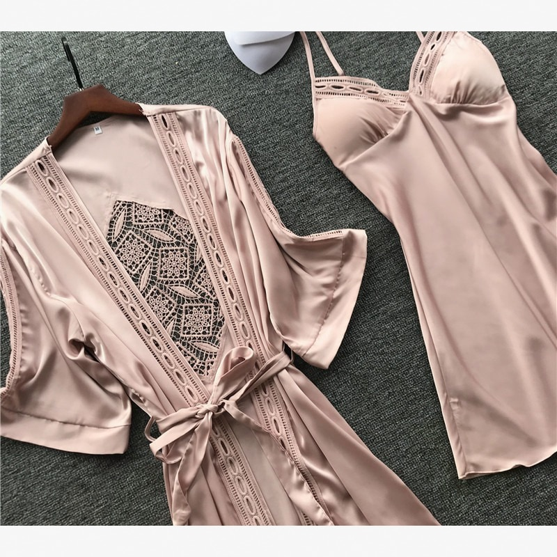 Pijamas de talla grande de seda de color liso para Mujer, ropa de hogar, pijamas para Mujer, camisa para dormir, pijama de satén para Mujer, ropa de dormir 2020