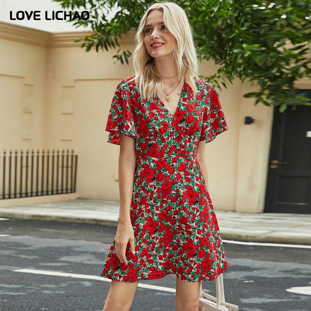 فستان كاجوال من البوليستر للنساء ، مجموعة ربيع وصيف 2021 الجديدة ، طباعة حمراء ، ياقة على شكل v ، أكمام قصيرة ، مثير