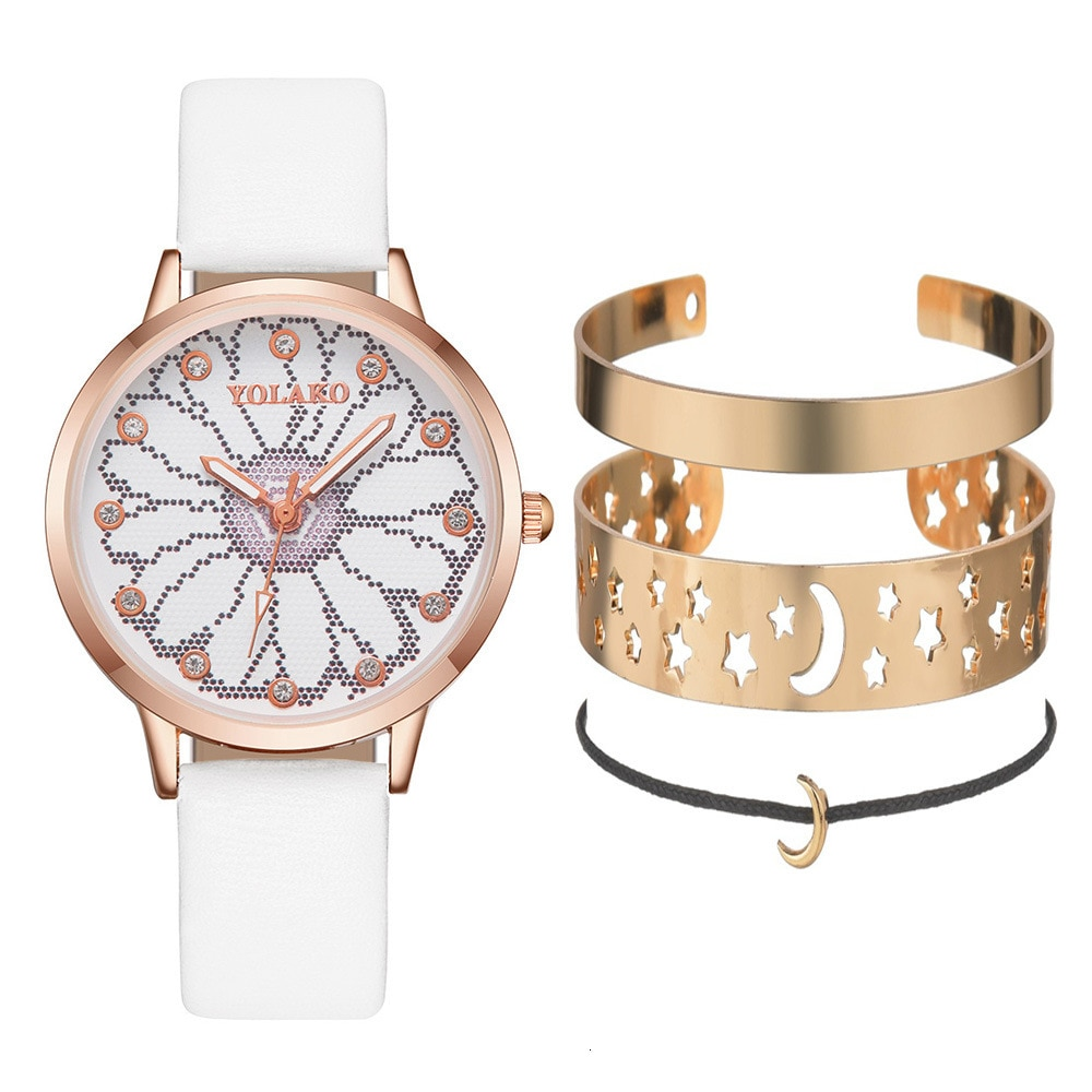 Flower Rhinestone Watch + Moon Star Bangle Jewelry Set 4pcs Luxury Bracelet Watch Women PU Leather Belt Wrist Watches For Women enlarge