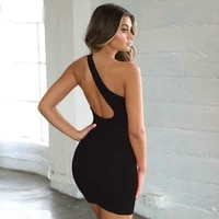 sexy club dresses summer solid color backless one shoulder nightclub dress mini sundress party