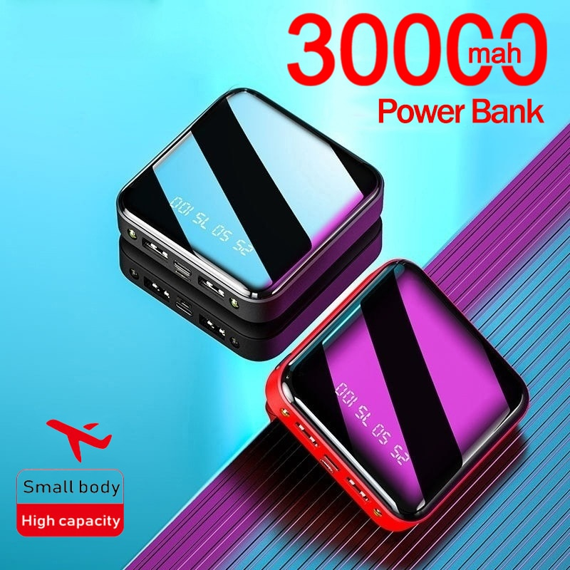 Mini 30000mAh Fast Charging Portable Powerbank Digital Display External Battery Charger with 2USB Safe for Samsung Iphone Xiaomi