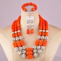 stylish african wedding coral set nigerian orange coral beads jewelry set c21 28 07