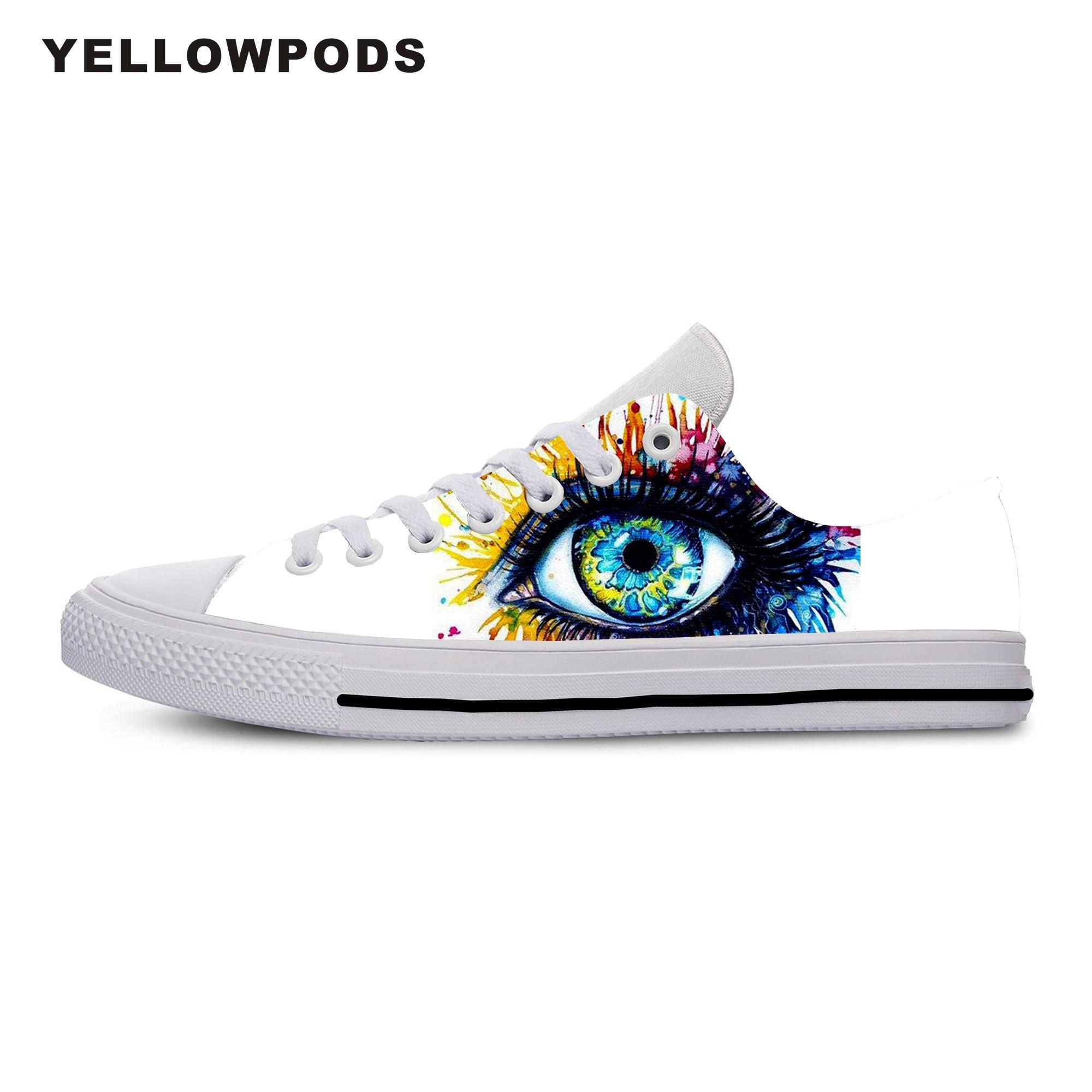 Pintura a Óleo Nova Lona Sapatos Casuais Masculinos – Femininos Impressão 3d Cor Olho Azul Engraçado Leve Fora Brancos Homem