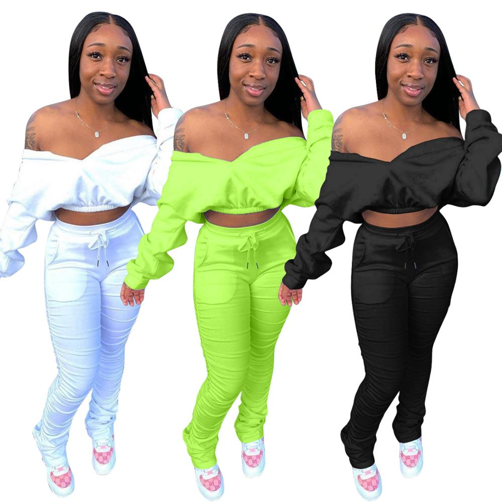 Echoine Autumn Winter Sexy Off Shoulder Crop Top and Ruched Pleated stacked pants Two Piece set Party Club Outfits tracksuit white pleated design off shoulder crop top