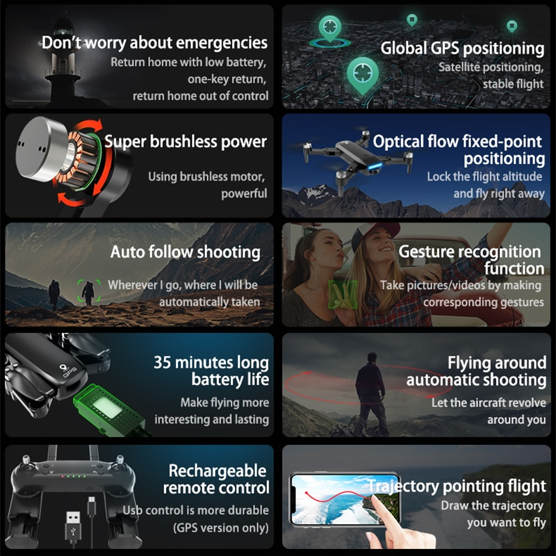KXC K3 Pro Drone GPS 4K Professional HD Camera 30mins Flight Time 5G WIFI FPV Brushless Motor Foldable RC Quadcopter Dron Plane enlarge