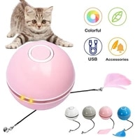 electric cat toy ball interactive usb charging automatically turning rolling cat playing toy teasing ball led luminous cat toy