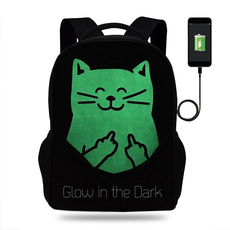 Dedo gato Aalbert Einstein imprimir mochila mujeres USB carga mochilas para adolescentes niños y niñas mochilas escolares portátil mochilas diarias