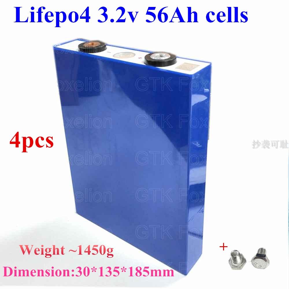 4 Uds 3,2 V 56Ah LiFePO4 batería de litio recargable 3,2 v 50ah 60ah 55ah gtk para coche eléctrico o batería de almacenamiento 8s 4S 12v 24v
