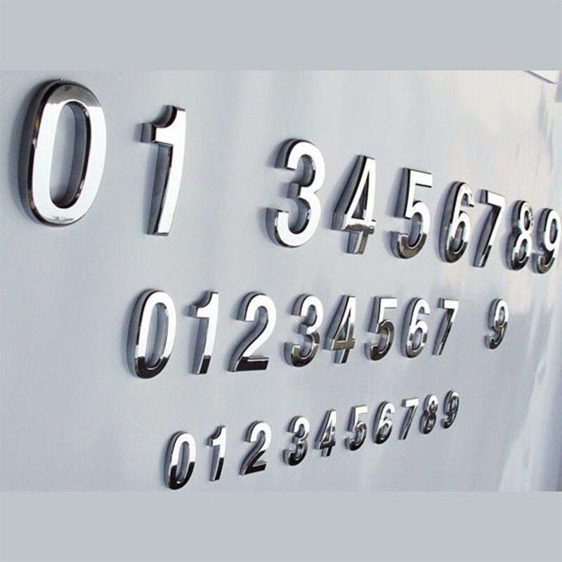 1pc nuevo chapado casa decoración dirección Scutcheon dígitos puerta del Hotel Placa de calcomanía signo casa número placa 3,5 cm de plata moderna