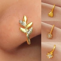 u shape safe cubic zirconia golden faux nose ring for decorating nose