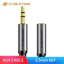 CABLETIME 3.5mm Jack casque Upgrad gris Audio câble Aux rallonge M/F pour Xiaomi Huawei P20 amplificateur C104