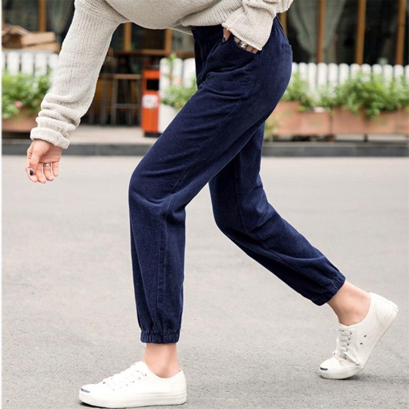 Frauen Hosen Herbst Winter Cord Hosen Hohe Taille Hose Plus Größe Harem Hosen Mode Overalls Strahl Hosen pantalones mujer