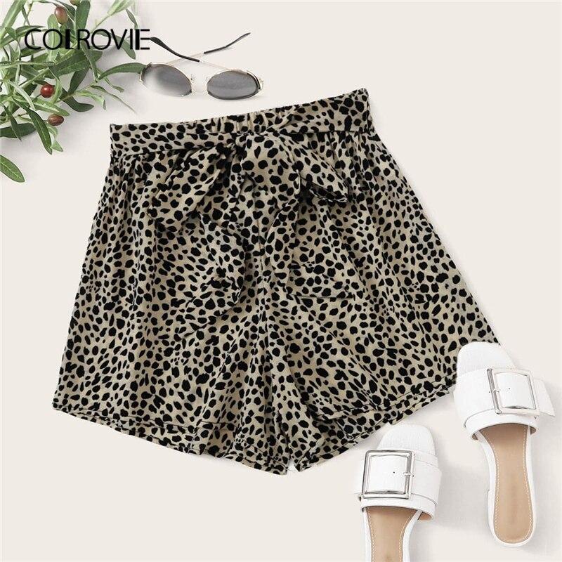 COLROVIE Multicolor Leopard Allover Print Self Tie Shorts Women 2020 Summer Wide Leg High Waist Boho Belted Shorts