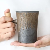 japanese style vintage ceramic coffee mug tea cup tumbler rust glaze office tea milk beer mug with spoon wood handle water cup