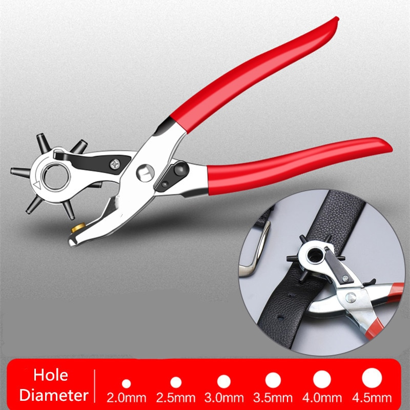 Perforadora de agujero de 9 pulgadas, alicate de perforación, herramienta perforadora de agujero redondo, perforadora para correas de correa de cuero, correa de reloj