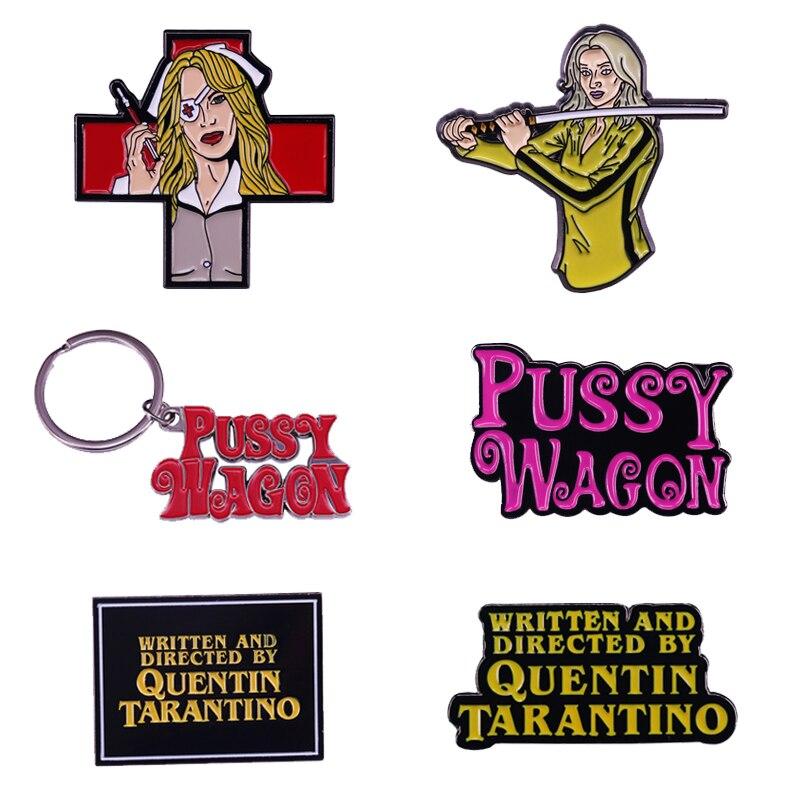 quentin-tarantino-pelicula-matar-a-bill-la-novia-pussy-wagon-broche-pin-llavero
