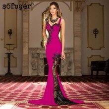 Fuschia apliques longos vestidos de noite sexy espaguete querida dubai árabe arábia saudita vestidos de noite vestido de baile plus size