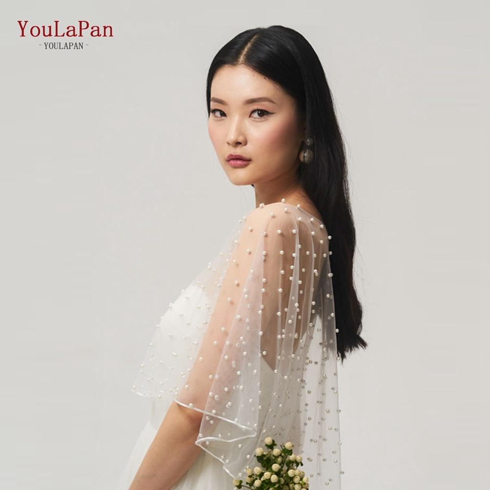 YouLaPan G27 короткая спереди длинная сзади Свадебная накидка шаль элегантный заколки с жемчугом Свадебные накидка шаль накидка на плечо