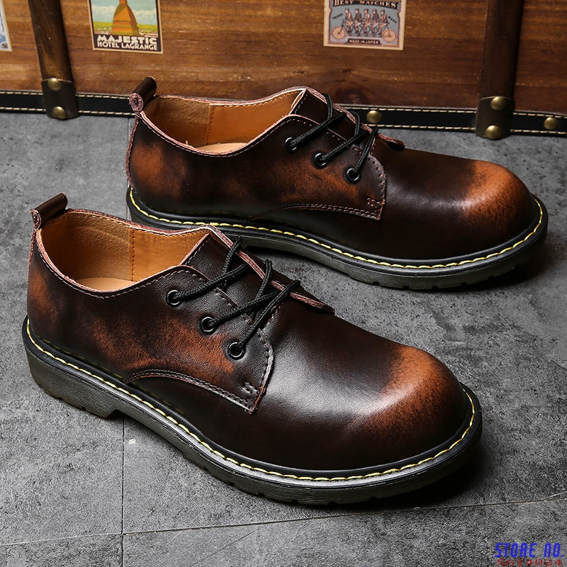 Brand Men Leather Martin Shoes Handmade Breathable Large Size Men's Oxford Shoes Male Top Quality Th