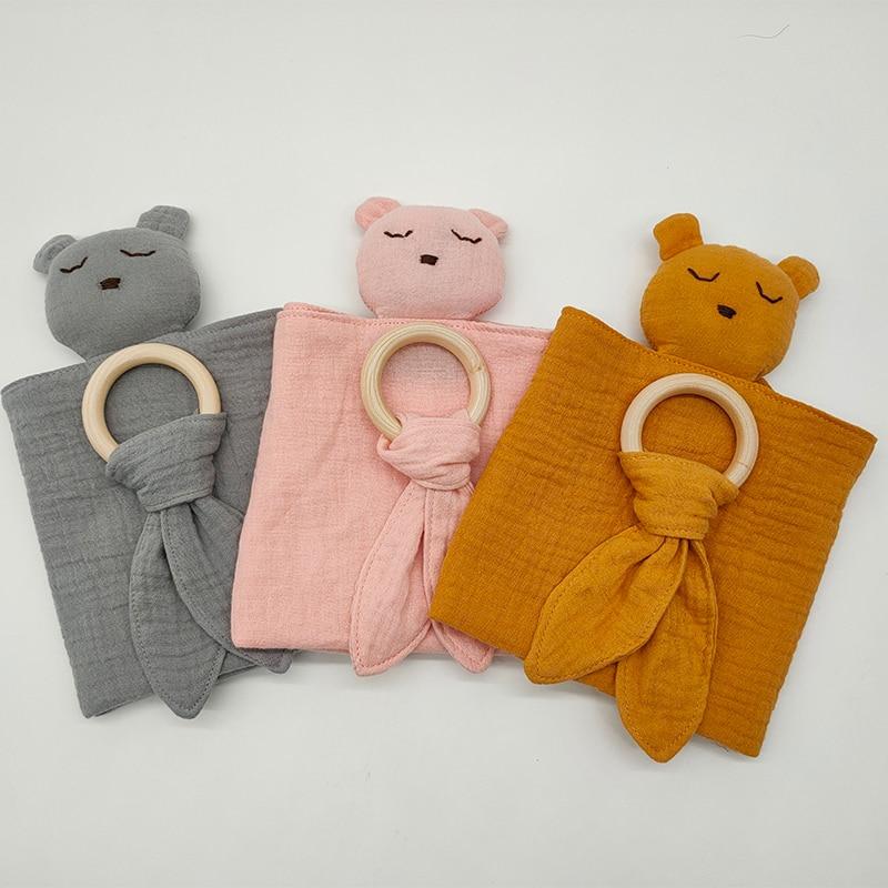 new ins organic Muslin Soft Blanket Animal Toy Baby Comforter Baby bear Plush Toy Rabbit Scarf Handkerchief Appease Towel